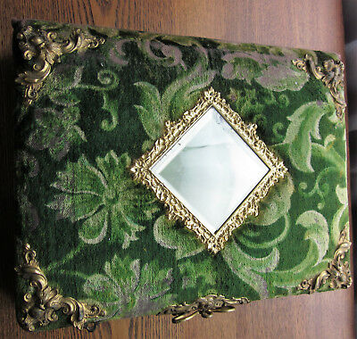 "Antique Victorian Green Velvet Hardcover Photo Album with Mirror - 11.5"" x 9.0"""