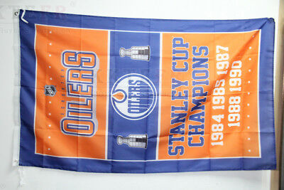 NHL Edmonton Oilers Flag 3X5 Stanley Cup Champions Banner