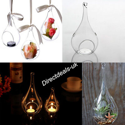 6x Clear Glass Teardrop Baubles Tealight Candle Holder Hanging Ornament Xmas DIY