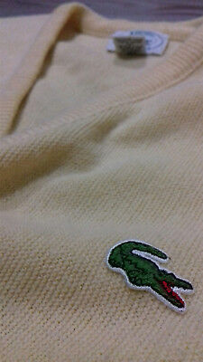 Lacoste Vintage Jumper Sweater Yellow V-Neck M
