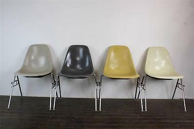 4x EAMES DSS CHAIRS HERMAN MILLER STACKING BASE 50s 60s OCHRE /GREY/ GREIGE DSW