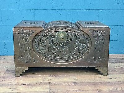 1930s Oriental Camphor wood carved coffer chest (100503)