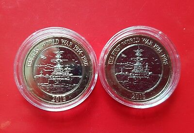 Royal Navy 2015 HMS Belfast UNCIRCULATED £2 Coins x2. Cat Error and Normal Coin