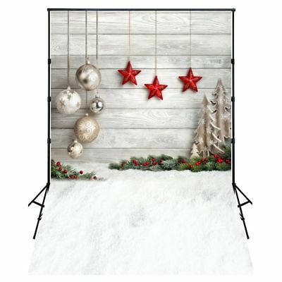 5X7FT Photo Background Photography Backdrop Props, Christmas Balls Stars C7K9