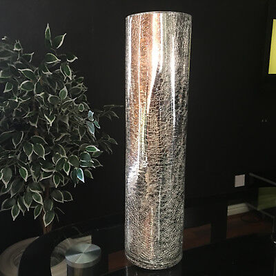 LARGE SILVER MERCURY CRACKLE MIRRORED GLASS VASE 39cm TALL CRACKLE GLASS VASE