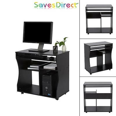 Sleek Modern PC Laptop Desk Black Bedroom Office Home Study MDF Brand New