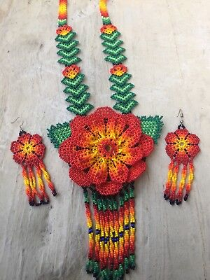 Mexican Huichol Beaded Flower Necklace Set With Earrings  Included
