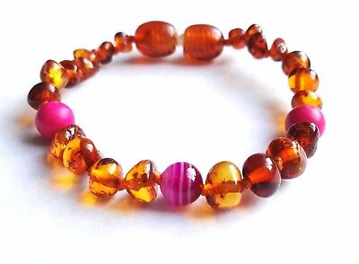 Genuine Baltic Baby Amber teething Anklet / Bracelet Knotted  agate,howlite 14cm