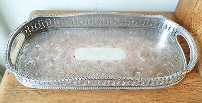 LOVELY ORNATE VINTAGE OBLONG SHEFFIELD SILVER PLATED GALLERY TRAY on 4 Ball Feet