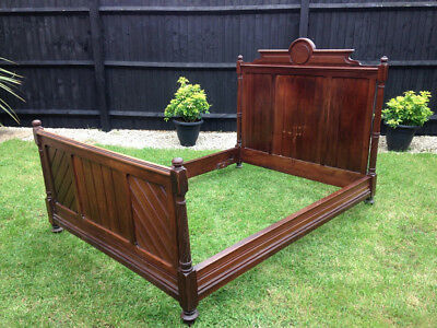 Gothic French Turn of the Century Double Wooden Bed frame.