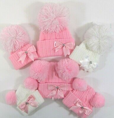 Baby Girls Knitted Winter Bow Bobble Hat Sparkle Big Two Double Pom Pom NB - 24