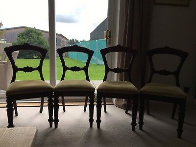 Four Edwardian/Georgian Solid Mahogany Dining Room Chairs