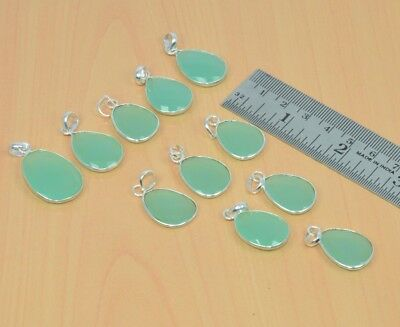 Wholesale 11Pc 925Solid Sterling Silver Natural Aqua Chalcedony Pendant Lot L377