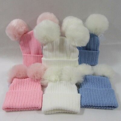 Baby Babies Infant Knit Knitted Winter Bobble Hat Double Two Faux Fur Pom Pom NB