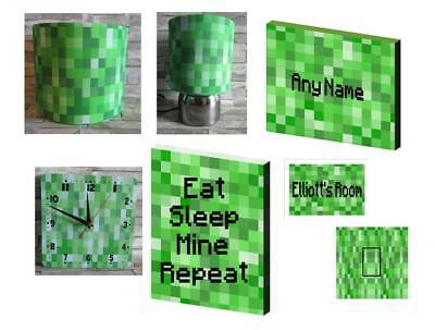 PIXELS BEDROOM BUNDLE LAMPSHADE LAMP CLOCK CANVAS PICTURE minecraft inspired