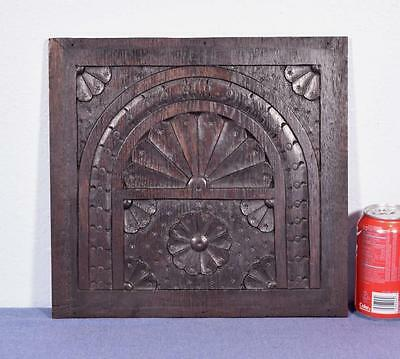 *French Antique Hand Carved Architectural Panel Solid Chestnut Wood