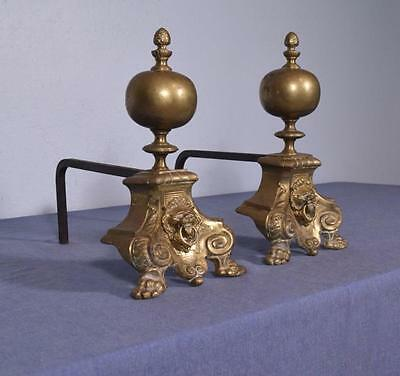 "*12"" Antique Bronze and Iron Andirons Fireplace Chenet with Lion Faces"