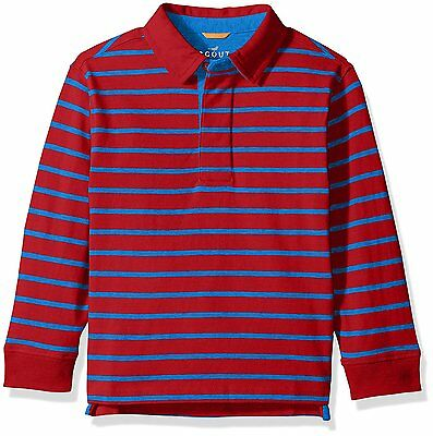 Scout + Ro Boys Stripe Rugby Shirt Long Sleeve L/S Red & Electric Blue Size 8