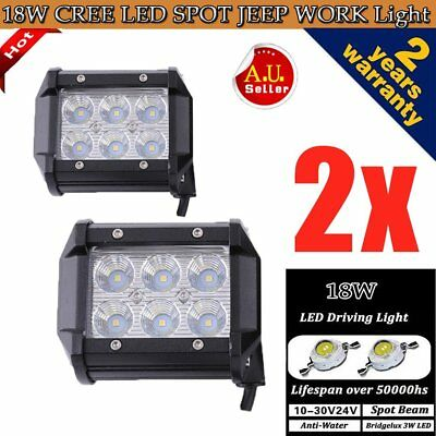 2x 4inch 18W LED Work Lights Bar Spot Driving Lamp Offroad JEEP 4WD ATV SUV DFW