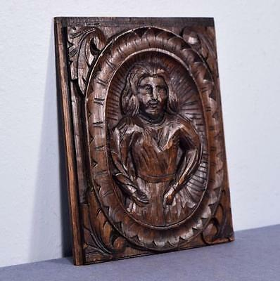 *French Hand Carved Antique Chestnut Wood Panel of a Man