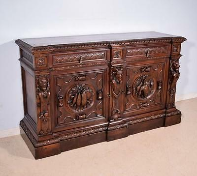 *Antique Italian Hunting Sideboard/Buffet with Deep Carvings Walnut Lions/Ram