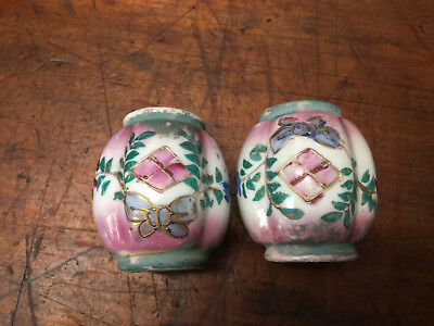 Antique Victorian Brass Bed Porcelain Finials Hand Painted