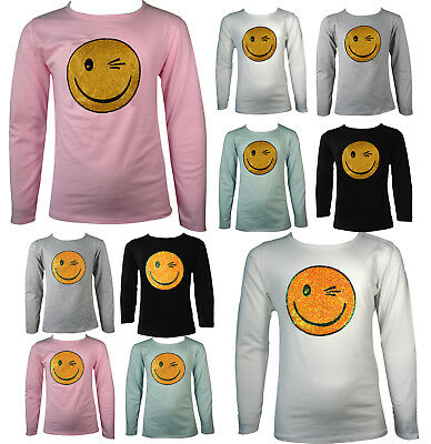 Girls Shiny Emoji Smiley Faces Emoticons Glitter Sequin Long Sleeve Top 7-13 Yrs