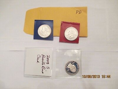 2009 Puerto Rico Quarters Trio Mint Marks P, D And S