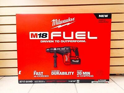 "NEW Milwaukee 2717-21HD M18 FUEL 9.0 Ah HD BRUSHLESS Kit 1-9/16 "" Rotary Hammer"