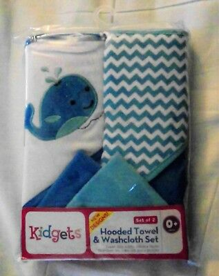 Hooded Towel and washcloth baby infant new set 2 blue whale Kidgets bath