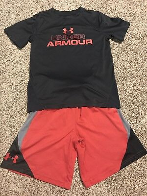 Boys Youth XS Athletic Under Armour Shorts And Shirt Set Outfit