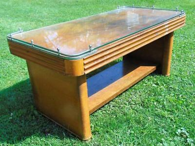 Art Deco mahogany and brass trimmed coffee table w/glass top, manufac... Lot 72