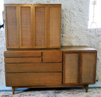 Mid-Century Modern 1960's 2-part hutch or credenza with wicker panel i... Lot 90
