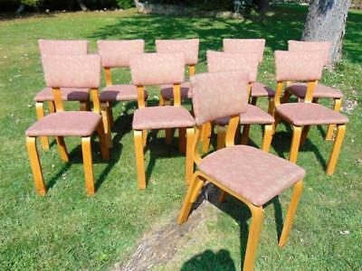 Set of 10 1950's Atomic or Mid-Century Modern bent maple dining chairs... Lot 70