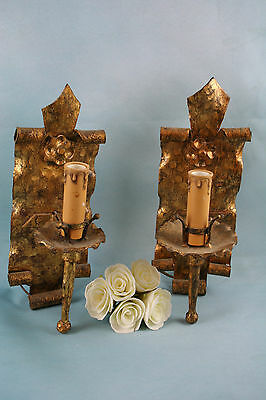 Antique French cast wrought iron gold gilt wall sconces gothic medieval manner