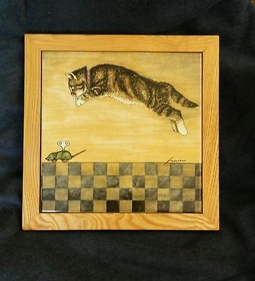 """Lowell Herrero Vandor Framed Tile Hanging 1982 Cat and Toy Mouse  9 1/2"""""""