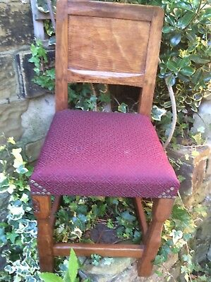 Set Of 4 Thomas Whittaker (Gnome Man) Yorkshire Critters Adzed Oak Dining Chairs