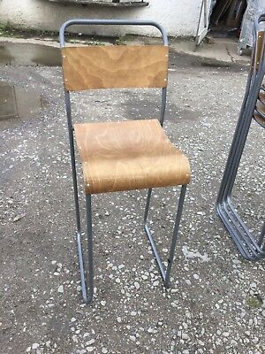 4 x Stackable Grey Metal Frame Backed Stool With Wooden Seat