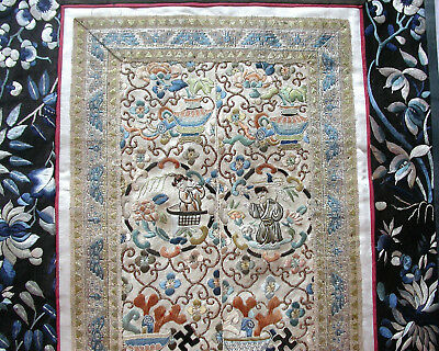 Antique Chinese Silk Embroidered Panel. 2 Sleeve Bands. Figures Etc. Peking Knot