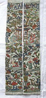 Pair Of Antique Chinese Silk Embroidered Sleeve Bands. Figures. Peking Knot