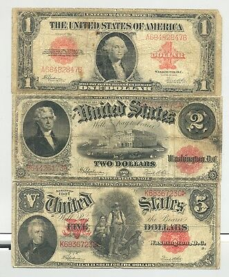 high grade $1 1923, $2 1917 and $5 Series 1907 Woodchopper United States Notes