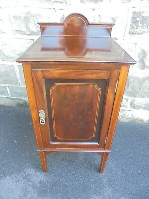 Antique Inlaid Mahogany Bedside Cabinet