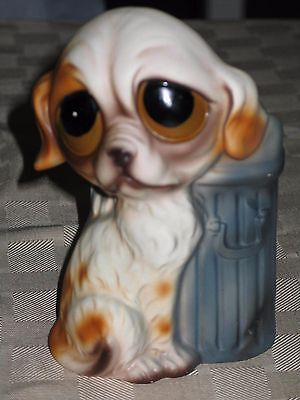 "Keane-Style BIG EYES sad puppy dog trash can 7"" ceramic planter desk ware ENESCO"