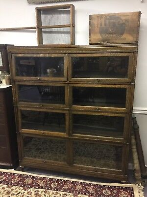 Oak Double Wide Four Section Stacked Bookcase Unit