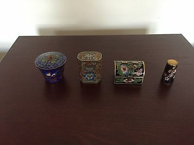 4 Lovely  Cloisonne Miniature Items (Trunk, Thimble & 2 Lidded Containers)