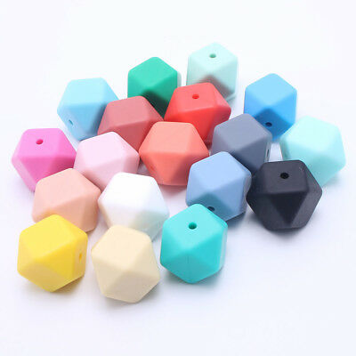 10Pcs Hexagon Silicone Beads DIY Teething Necklace Baby Teether Making BPA Free
