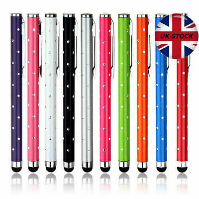 4 x HIGH QUALITY CRYSTAL EFFECT STYLUS PEN FOR APPLE ANDROID - BLACK & PINK