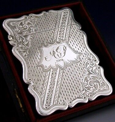 Stunning Mint Cased English Sterling Silver Card Case 1903 Antique Never Used