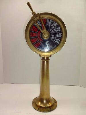 "Vintage Brass Chadburns Liverpool London Engine Order Telegraph 18"" Tall."