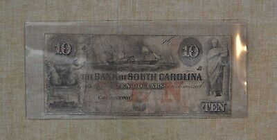 1800's Ten Dollar - Bank Of South Carolina - Obsolete Currency - $10 - 1850's ?